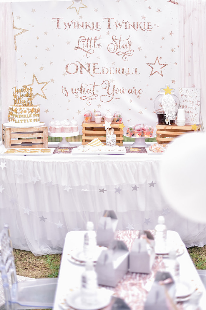 Rose Gold Twinkle Star Birthday Party on Kara's Party Ideas | KarasPartyIdeas.com (23)