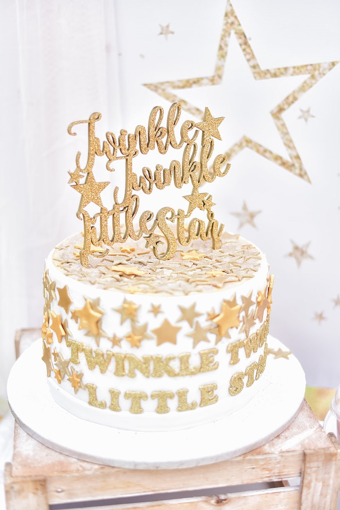 Twinkle Twinkle Little Star Cake from a Rose Gold Twinkle Star Birthday Party on Kara's Party Ideas | KarasPartyIdeas.com (22)
