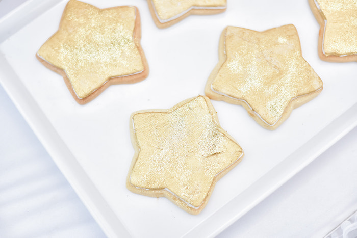Twinkling Gold Star Sugar Cookies from a Rose Gold Twinkle Star Birthday Party on Kara's Party Ideas | KarasPartyIdeas.com (19)
