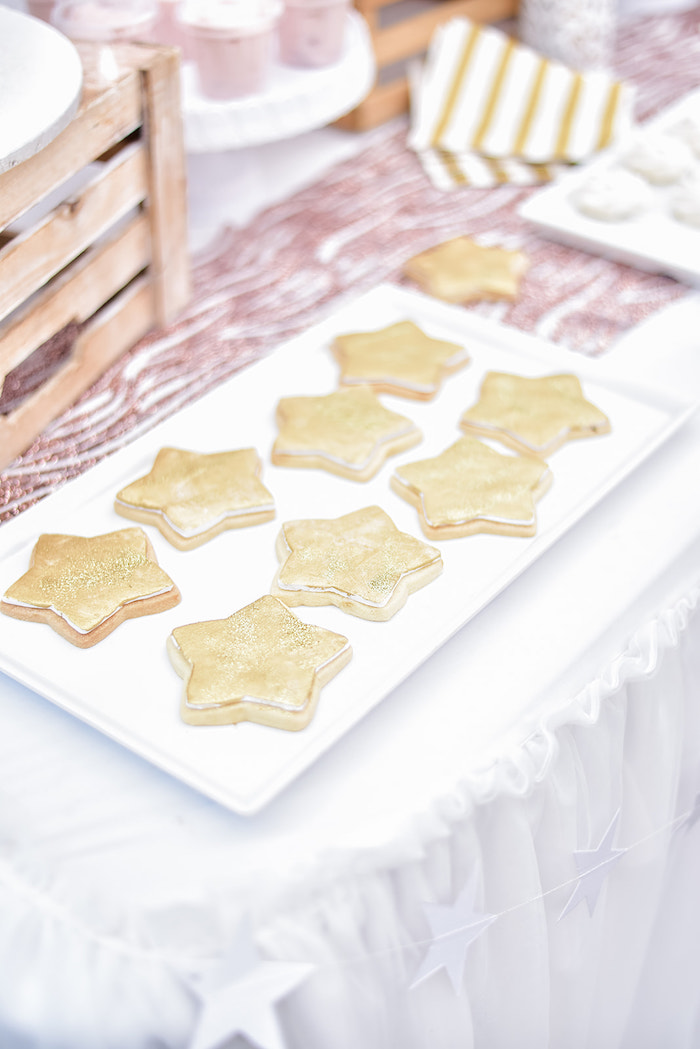 Twinkling Star Sugar Cookies from a Rose Gold Twinkle Star Birthday Party on Kara's Party Ideas | KarasPartyIdeas.com (18)