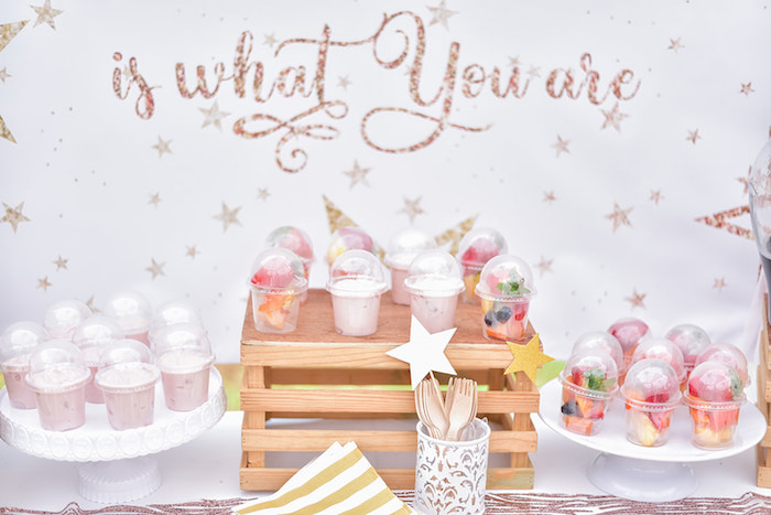 Parfaits + Fruit Cups from a Rose Gold Twinkle Star Birthday Party on Kara's Party Ideas | KarasPartyIdeas.com (17)
