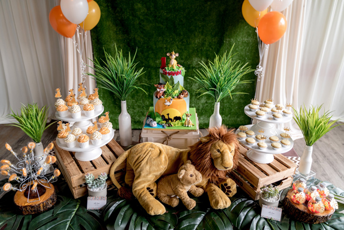 Lion King Themed Dessert Table from a Simba & Friends Lion King Birthday Party on Kara's Party Ideas | KarasPartyIdeas.com (10)