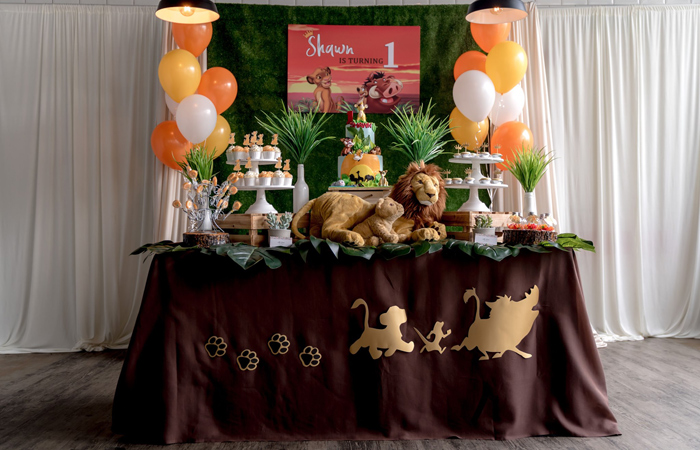 Lion King Themed Dessert Table from a Simba & Friends Lion King Birthday Party on Kara's Party Ideas | KarasPartyIdeas.com (9)