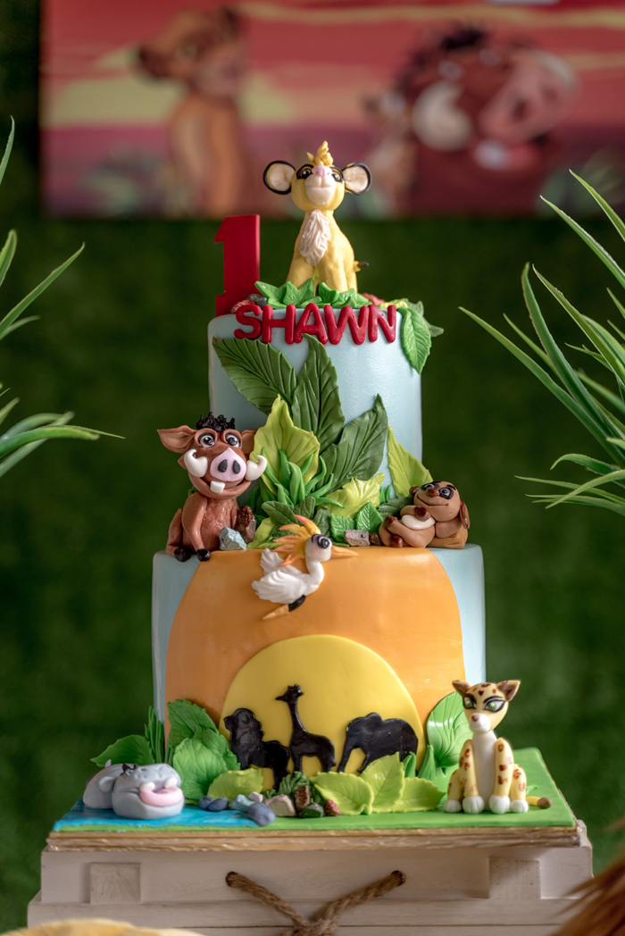 Lion King Themed Birthday Cake from a Simba & Friends Lion King Birthday Party on Kara's Party Ideas | KarasPartyIdeas.com (8)