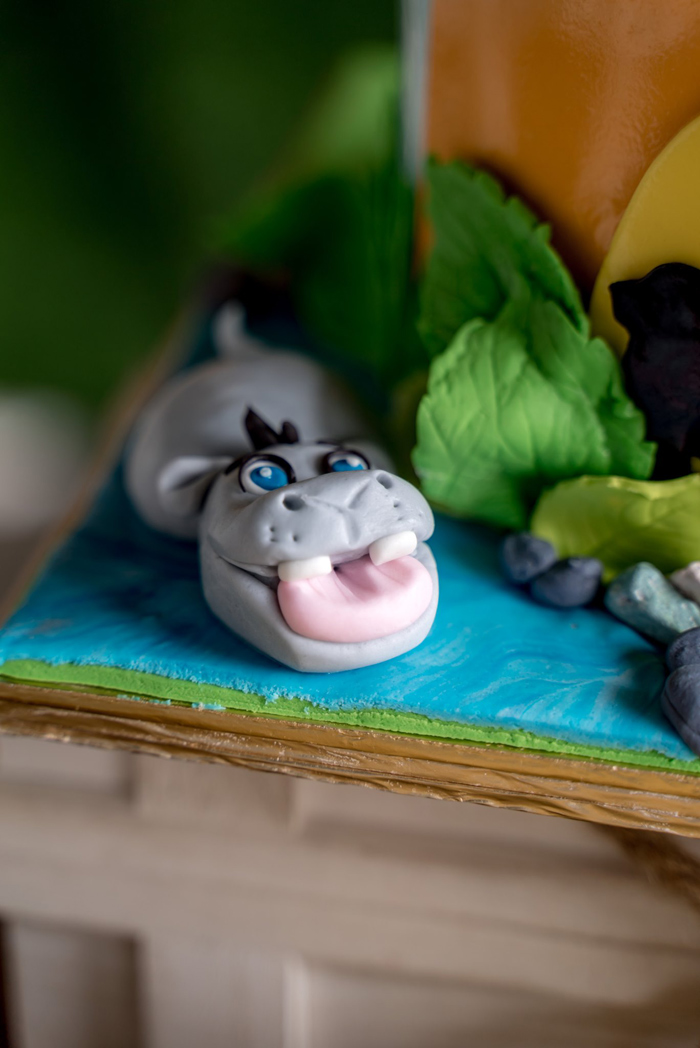 Hippo - Cake Detail from a Simba & Friends Lion King Birthday Party on Kara's Party Ideas | KarasPartyIdeas.com (6)
