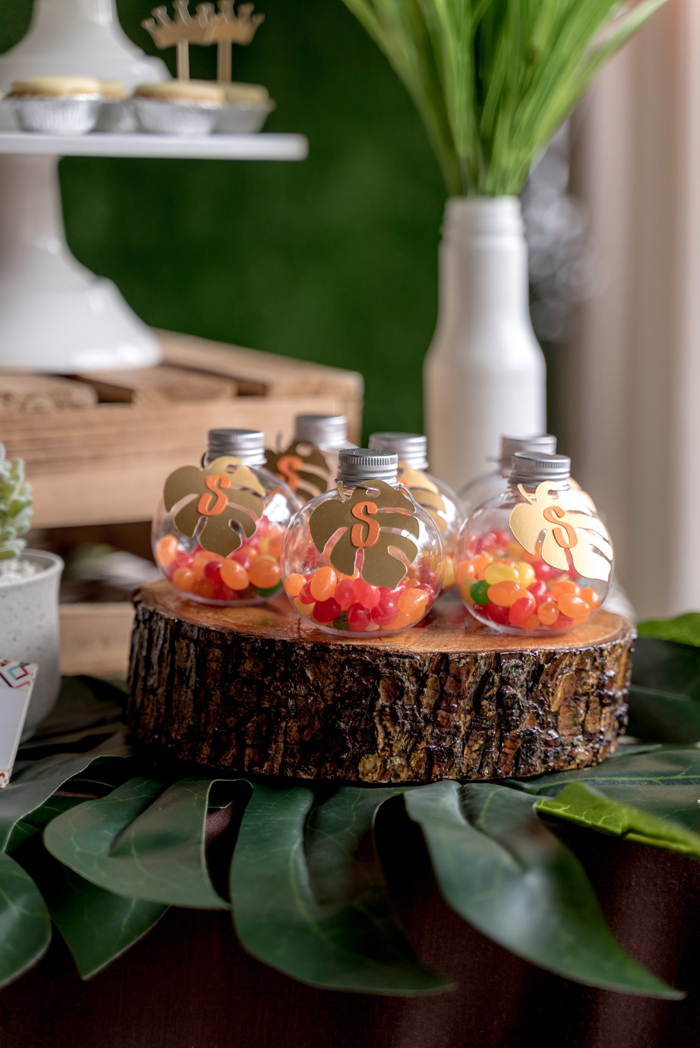 Leaf-adorned Jelly Bean Jars from a Simba & Friends Lion King Birthday Party on Kara's Party Ideas | KarasPartyIdeas.com (18)