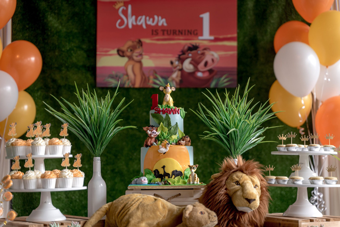 Lion King-inspired Dessert Table from a Simba & Friends Lion King Birthday Party on Kara's Party Ideas | KarasPartyIdeas.com (16)