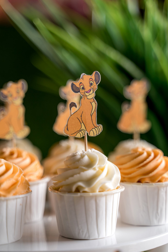 Lion-colored Cupcakes with Paper Simba Toppers from a Simba & Friends Lion King Birthday Party on Kara's Party Ideas | KarasPartyIdeas.com (13)