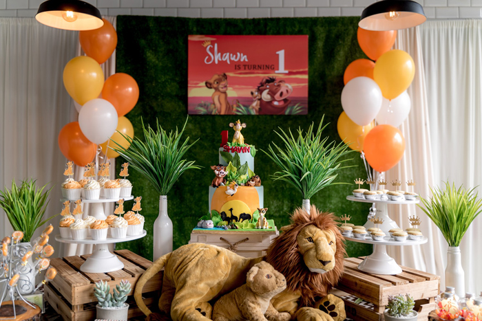 Lion King Themed Dessert Table from a Simba & Friends Lion King Birthday Party on Kara's Party Ideas | KarasPartyIdeas.com (12)