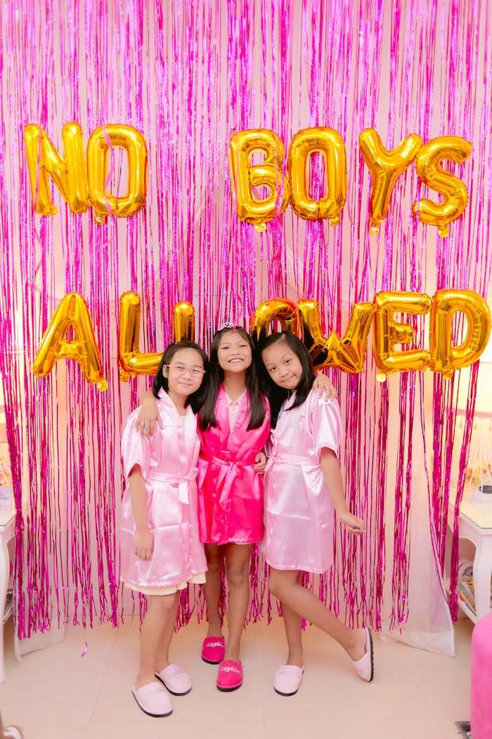 No Boys Allowed Backdrop from a Spa Day Birthday Party on Kara's Party Ideas | KarasPartyIdeas.com (13)