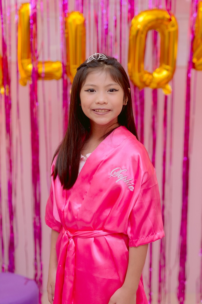 Pink Spa Robe from a Spa Day Birthday Party on Kara's Party Ideas | KarasPartyIdeas.com (6)