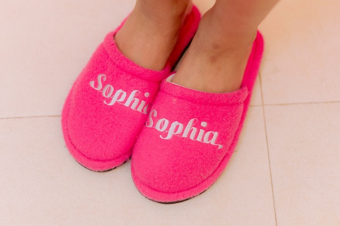 Personalized Slippers from a Spa Day Birthday Party on Kara's Party Ideas | KarasPartyIdeas.com (5)