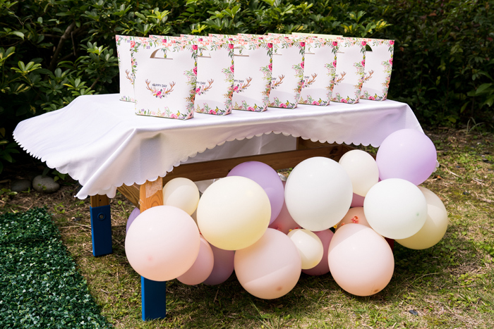 Balloon-adorned Favor Bag Table from a Spring Woodland Little Deer Birthday Party on Kara's Party Ideas | KarasPartyIdeas.com (27)