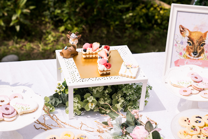 Garden Cake Pedestal from a Spring Woodland Little Deer Birthday Party on Kara's Party Ideas | KarasPartyIdeas.com (15)