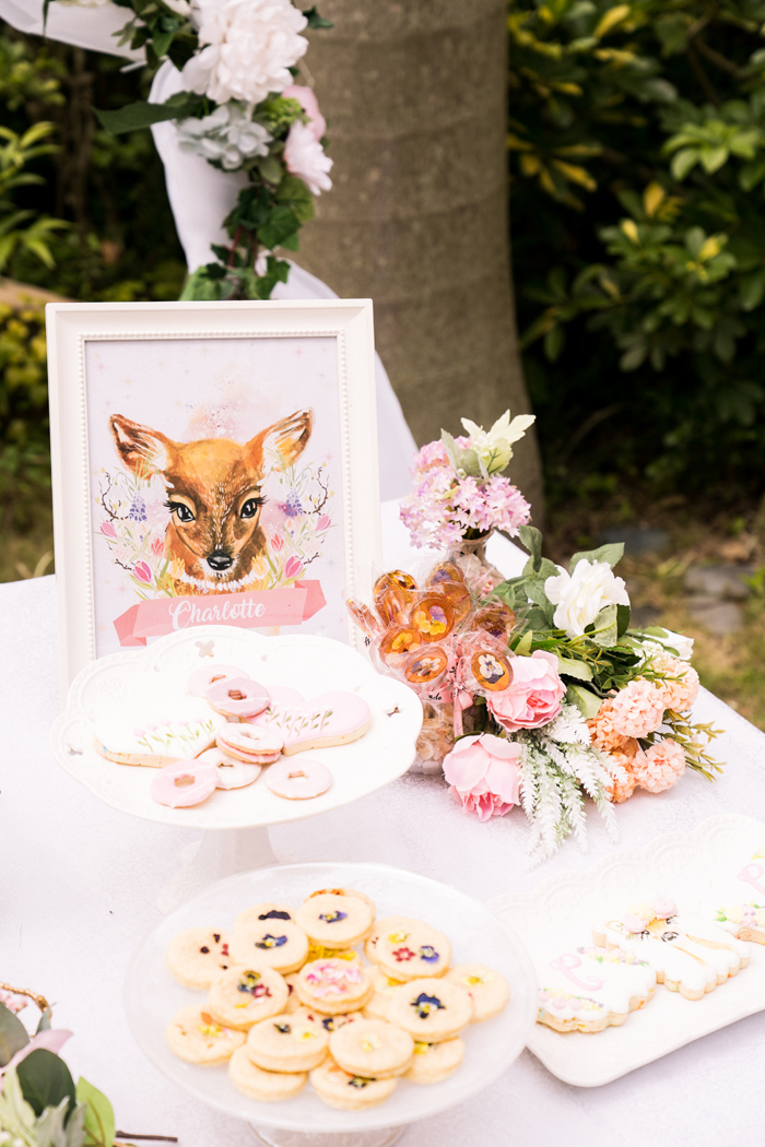 Fawn-inspired Garden Dessert Table from a Spring Woodland Little Deer Birthday Party on Kara's Party Ideas | KarasPartyIdeas.com (12)