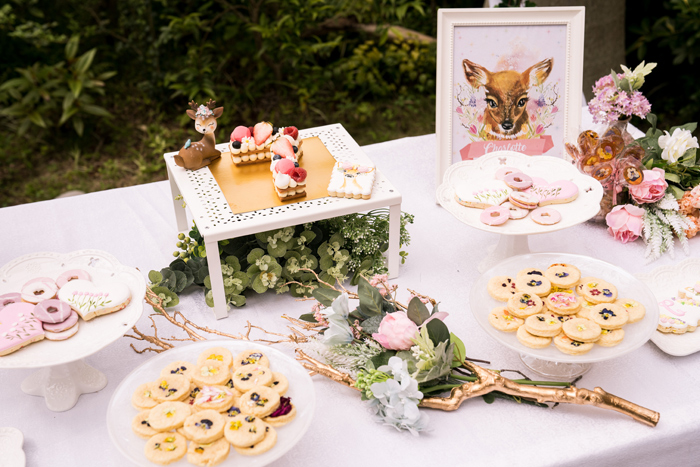 Fawn-inspired Garden Dessert Table from a Spring Woodland Little Deer Birthday Party on Kara's Party Ideas | KarasPartyIdeas.com (11)