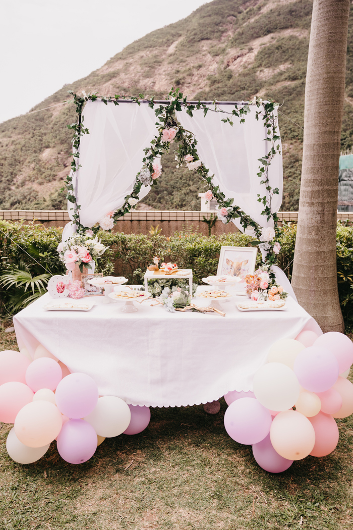 Garden Themed Dessert Table from a Spring Woodland Little Deer Birthday Party on Kara's Party Ideas | KarasPartyIdeas.com (10)