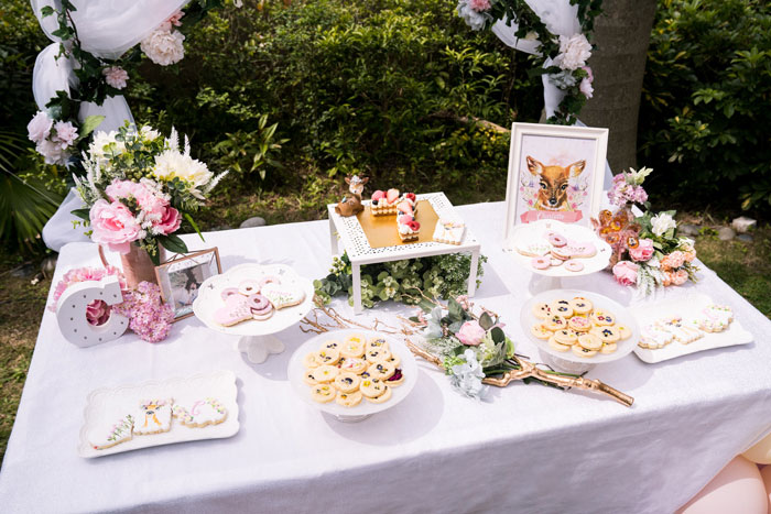 Floral-inspired Dessert Table from a Spring Woodland Little Deer Birthday Party on Kara's Party Ideas | KarasPartyIdeas.com (7)