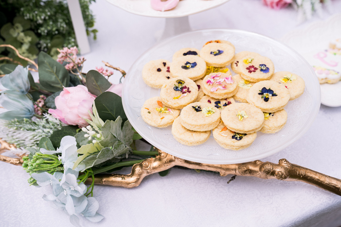Flower-pressed Cookies from a Spring Woodland Little Deer Birthday Party on Kara's Party Ideas | KarasPartyIdeas.com (23)