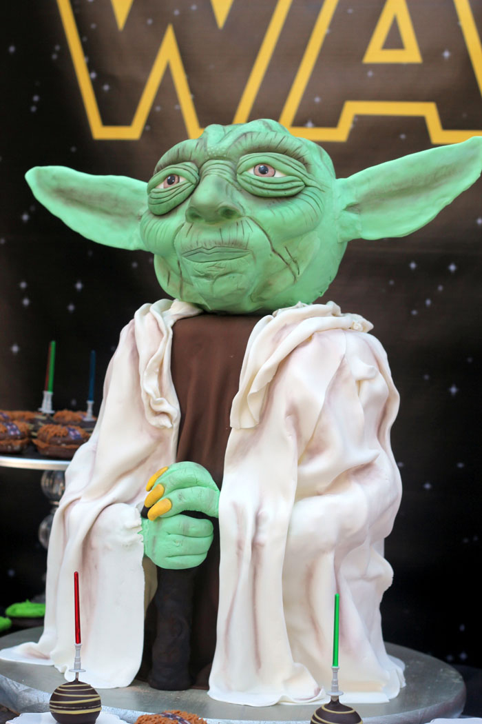 Master Yoda Cake from a Star Wars Birthday Party on Kara's Party Ideas | KarasPartyIdeas.com (10)