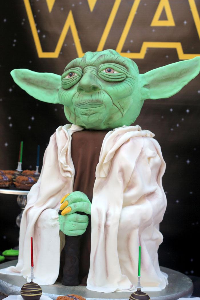 Master Yoda Cake from a Star Wars Birthday Party on Kara's Party Ideas | KarasPartyIdeas.com (10)