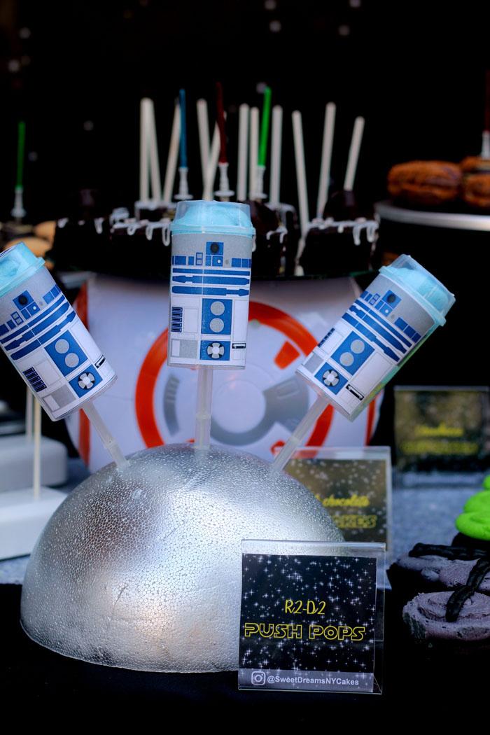 R2D2 Push Pops from a Star Wars Birthday Party on Kara's Party Ideas | KarasPartyIdeas.com (7)