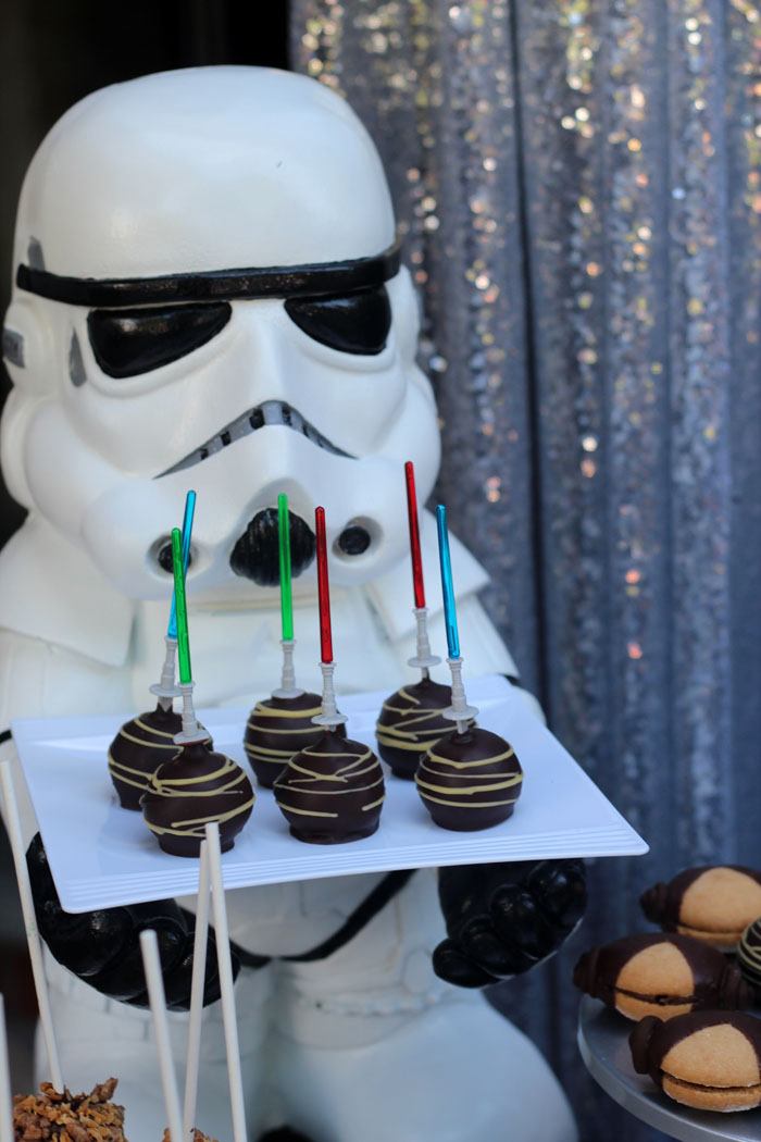 Lightsaber Cake Pops from a Star Wars Birthday Party on Kara's Party Ideas | KarasPartyIdeas.com (5)