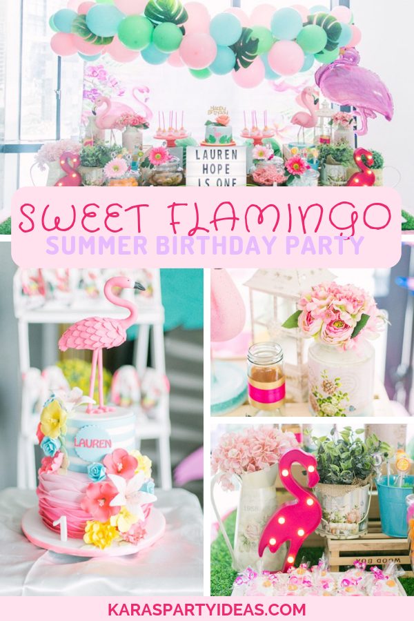Sweet Flamingo Summer Birthday Party via Kara's Party Ideas - KarasPartyIdeas.com
