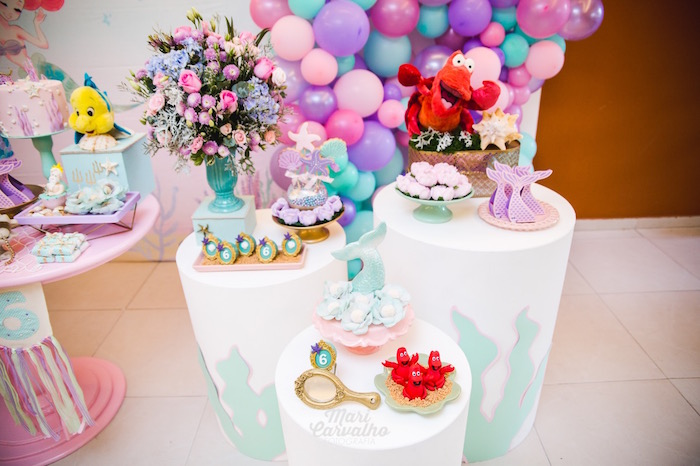 Ocean-inspired Pedestal Tables from The Little Mermaid Birthday Party on Kara's Party Ideas | KarasPartyIdeas.com (14)