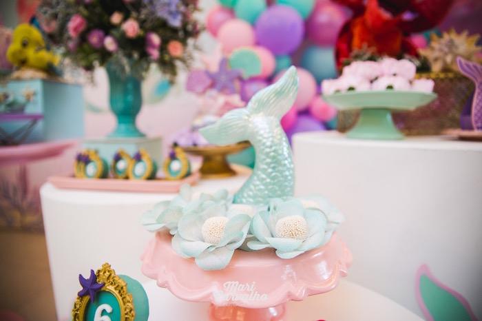 White Brigadeiros placed on a Fin Pedestal from The Little Mermaid Birthday Party on Kara's Party Ideas | KarasPartyIdeas.com (12)