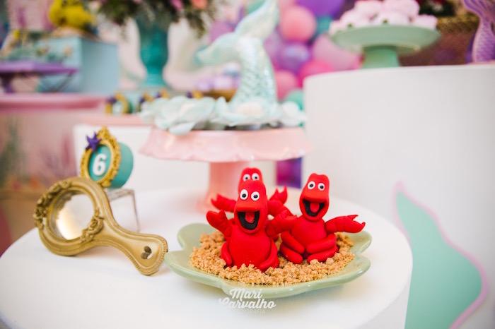 Sebastian the Crab Cakes from The Little Mermaid Birthday Party on Kara's Party Ideas | KarasPartyIdeas.com (5)
