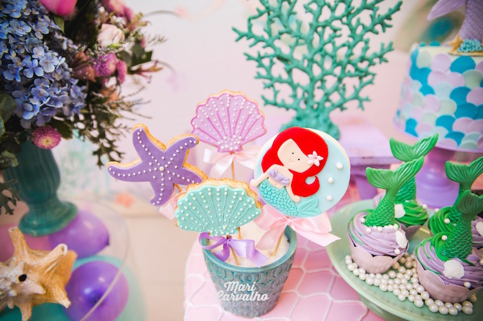 Ariel's Under the Sea Cookie Pops from The Little Mermaid Birthday Party on Kara's Party Ideas | KarasPartyIdeas.com (28)