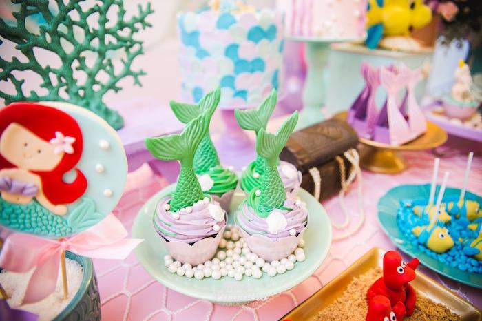 Mermaid Fin Cupcakes from The Little Mermaid Birthday Party on Kara's Party Ideas | KarasPartyIdeas.com (27)