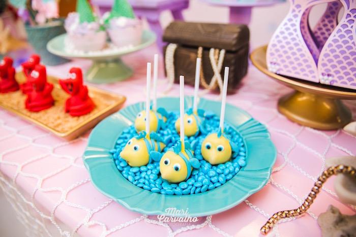 Flounder Cake Pops from The Little Mermaid Birthday Party on Kara's Party Ideas | KarasPartyIdeas.com (26)