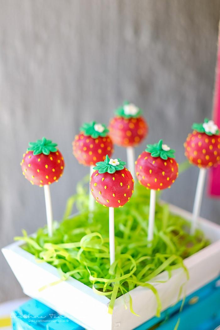 Strawberry Cake Pops from a Tutti Fruitti Birthday Party on Kara's Party Ideas | KarasPartyIdeas.com (22)