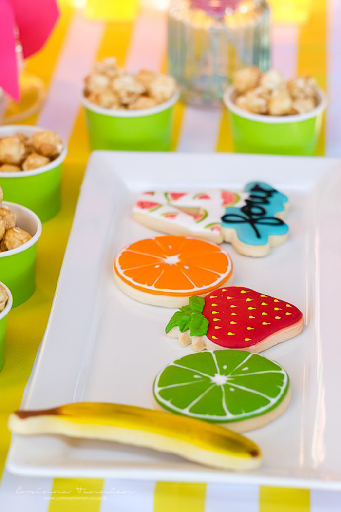 Fruit-inspired Sugar Cookies from a Tutti Fruitti Birthday Party on Kara's Party Ideas | KarasPartyIdeas.com (21)