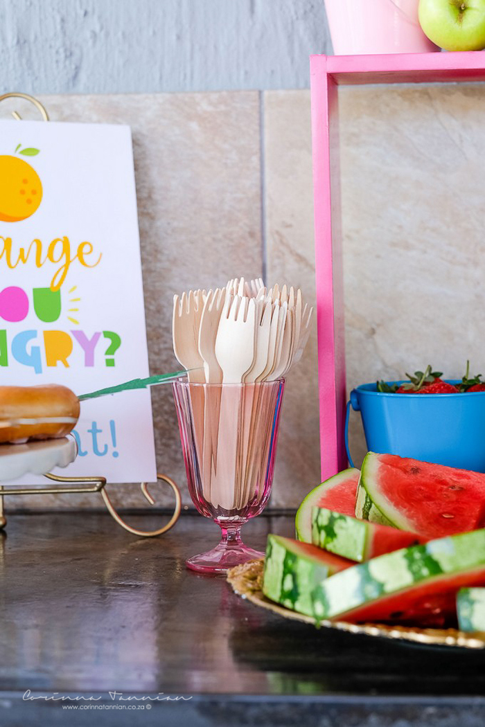 Wooden Forks from a Tutti Fruitti Birthday Party on Kara's Party Ideas | KarasPartyIdeas.com (38)