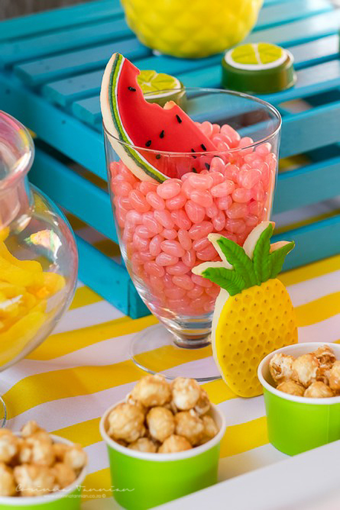 Pink Jelly Bean Jar + Fruit-shaped Sugar Cookies from a Tutti Fruitti Birthday Party on Kara's Party Ideas   KarasPartyIdeas.com (20)