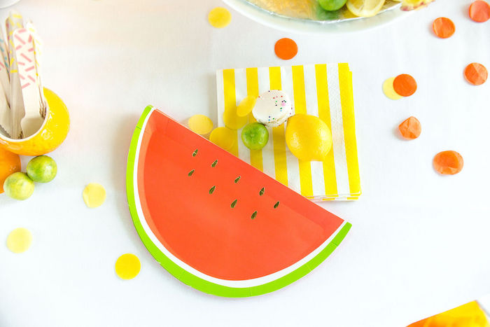 Watermelon Slice Plates + Striped Yellow & White Napkins from a Tutti Frutti Color Pop Party on Kara's Party Ideas | KarasPartyIdeas.com (13)