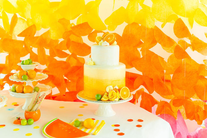 Orange Ombre Cake from a Tutti Frutti Color Pop Party on Kara's Party Ideas | KarasPartyIdeas.com (11)
