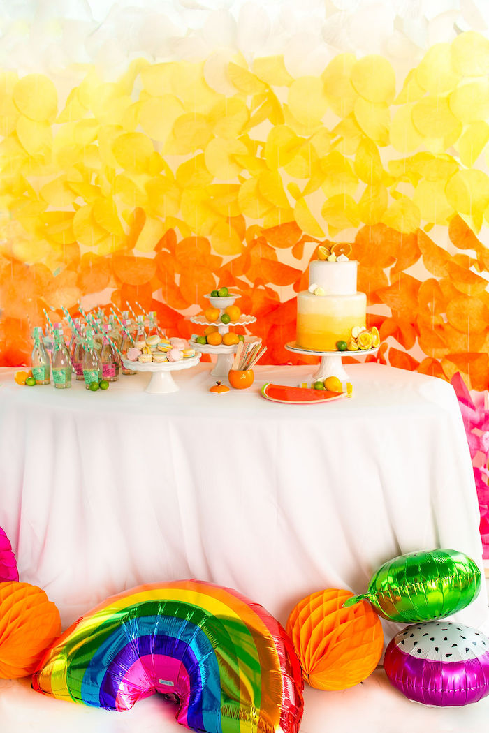 Cake Table from a Tutti Frutti Color Pop Party on Kara's Party Ideas | KarasPartyIdeas.com (17)