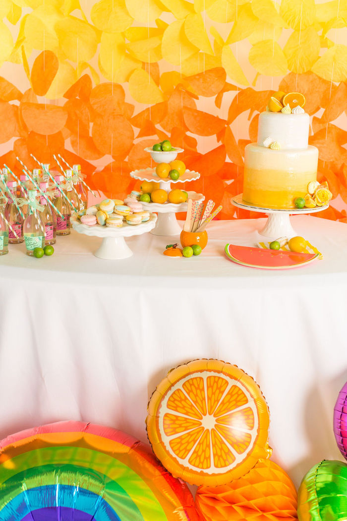 Dessert Table from a Tutti Frutti Color Pop Party on Kara's Party Ideas | KarasPartyIdeas.com (16)