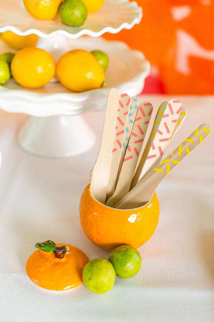 Wooden Utensils from a Tutti Frutti Color Pop Party on Kara's Party Ideas | KarasPartyIdeas.com (15)