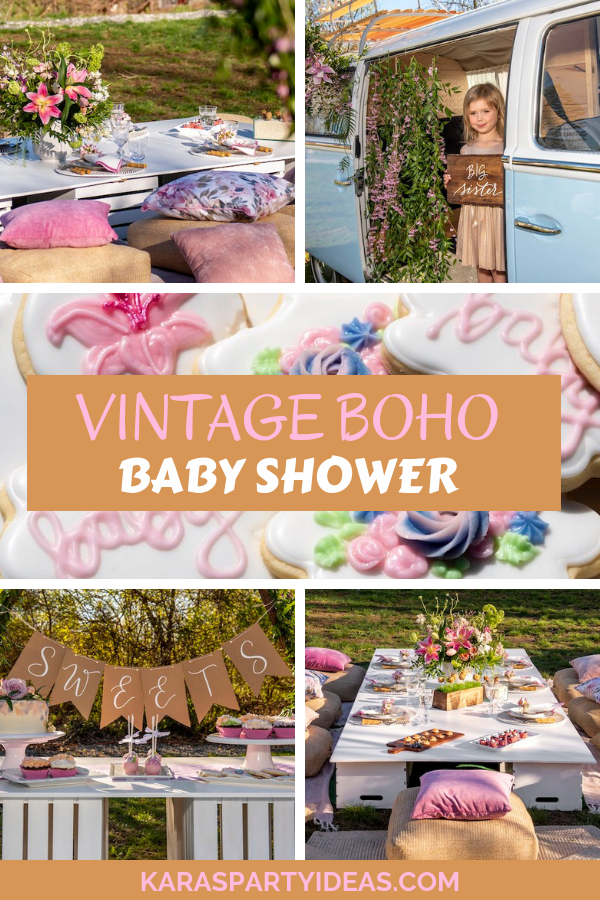 Vintage Boho Baby Shower via Kara's Party Ideas - KarasPartyIdeas.com
