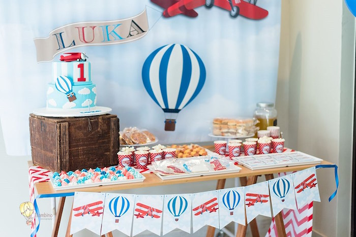 Hot Air Balloon Dessert Table from a Vintage Planes and Hot Air Balloons Party on Kara's Party Ideas | KarasPartyIdeas.com (8)