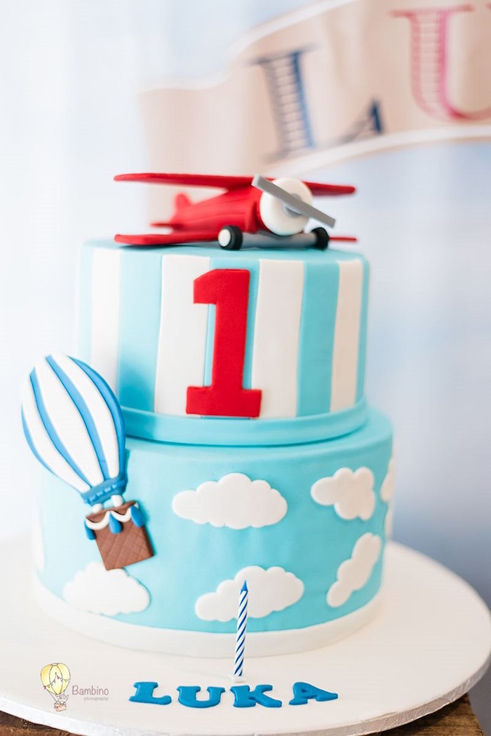 Up Up & Away Cake from a Vintage Planes and Hot Air Balloons Party on Kara's Party Ideas | KarasPartyIdeas.com (7)