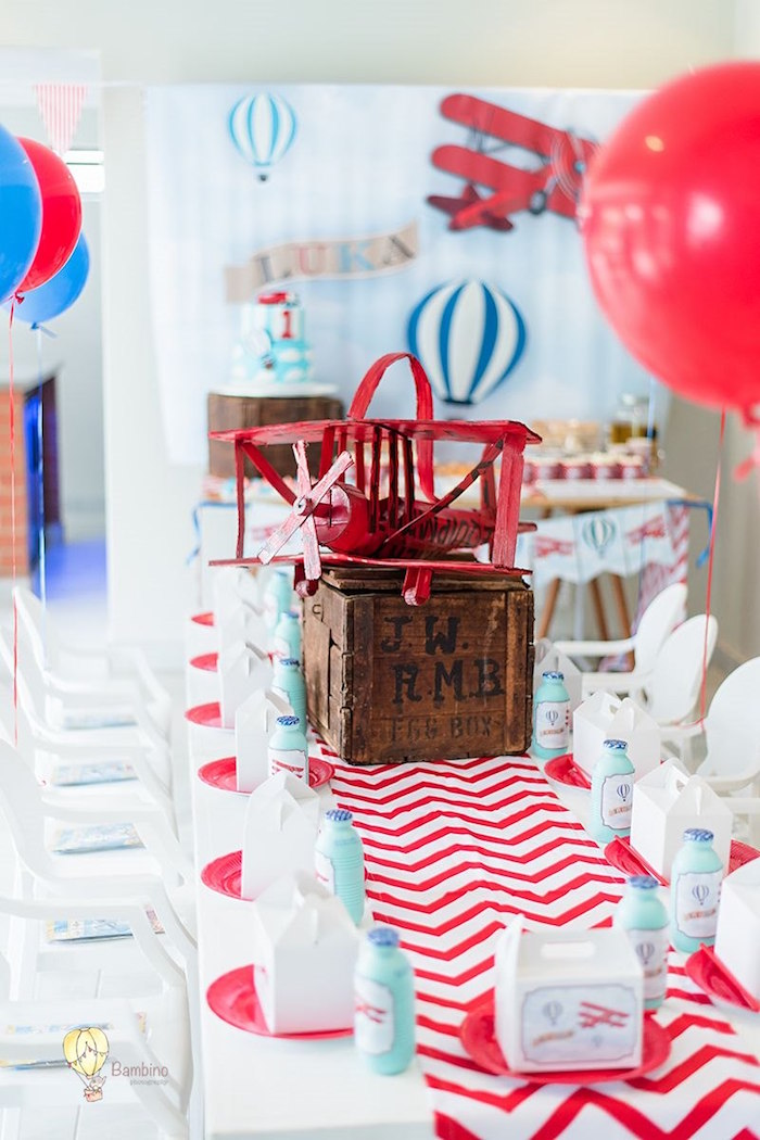Airplane & Hot Air Balloon Themed Kid Table from a Vintage Planes and Hot Air Balloons Party on Kara's Party Ideas | KarasPartyIdeas.com (6)