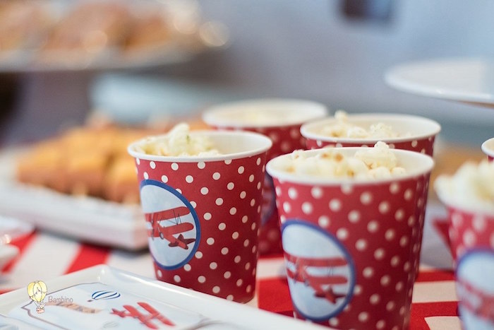 Red + White Polka Dot Popcorn Cups from a Vintage Planes and Hot Air Balloons Party on Kara's Party Ideas | KarasPartyIdeas.com (19)