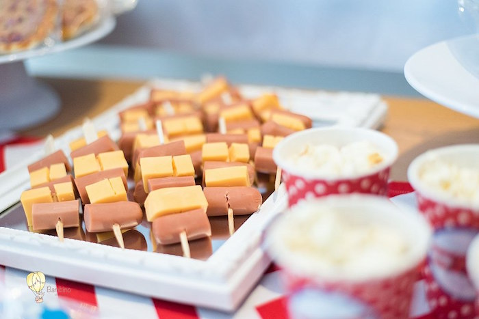 Hot Dog + Cheese Skewers from a Vintage Planes and Hot Air Balloons Party on Kara's Party Ideas | KarasPartyIdeas.com (18)