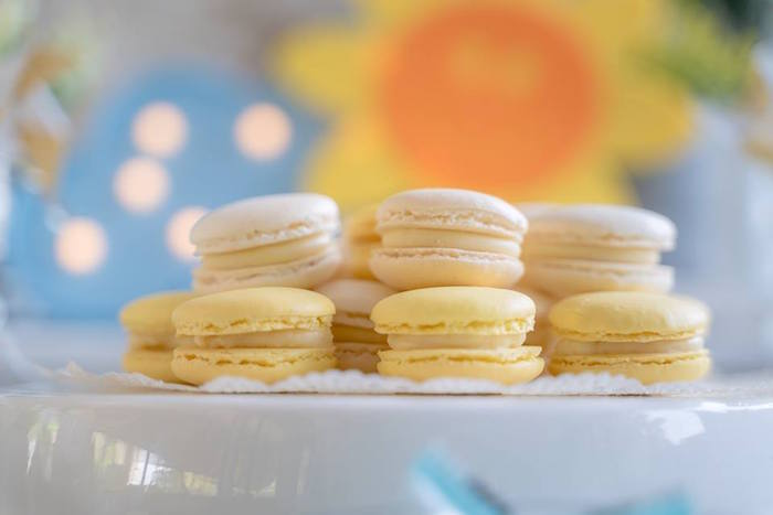 Yellow Macarons from a You are my Sunshine 100 Days Party on Kara's Party Ideas | KarasPartyIdeas.com (7)